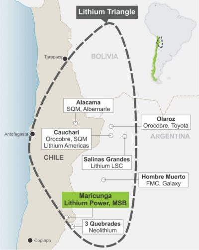 The Li triangle of Argentina, Chile and Bolivia, home to over 50% of known Li deposits